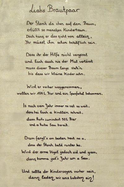Spruch zur hochzeit bayrisch